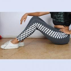 Side Checkered Print Cotton Rib Jeggings