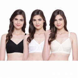 D-Cup Cotton Plain Non Padded Seamless Moulded Bra Pack of 3