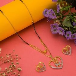 Heart Shape Rose Design CZ Golden Plated Mangalsutra & Earrings Set