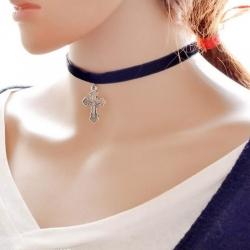 Black Velvet Ribbon Lacing Chokers Pendant Clavicle Necklace