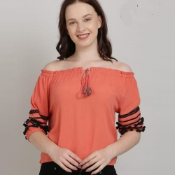 Off Shoulder Top With Sleeve Tape