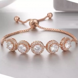 Classic Design Rose Gold Silver Plated White Stone Bracelet