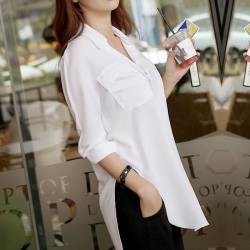 Lapel Fake Pocket Chiffon Shirt