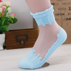 Ultra thin Transparent Lace Socks - Light Blue