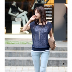 Women Loose Short Batwing Sleeve Knitwear