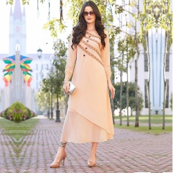 Peach Full Sleeve Georgette Embroidered Kurti