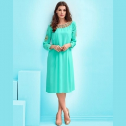 Sea Green Heavy Neck Embroidered and Pleated Kurta