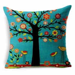Plant Season Life Tree Jute Cushion Covers