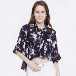 Bell Sleeve Floral High Low Crop Top