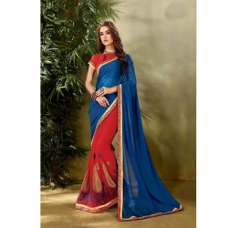 Embroidered Work Georgette Saree