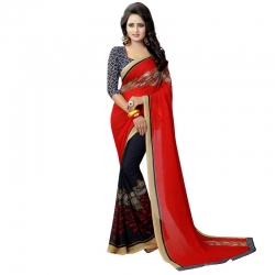 Littledesire Georgette Printed Saree with Blouse Piece