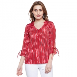 Littledesire Crepe Tie Up Stripes Top