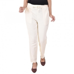 Littledesire Women Cotton Slub Best Stylish Off White Trouser