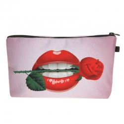 Littledesire Lips with Rose Travel Makeup Cosmetic Pouch Bag