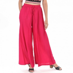 Littledesire Dark Pink Straight Palazzo With Side Pocket