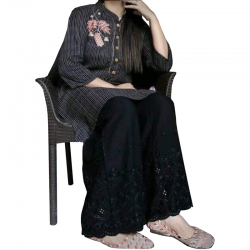 Littledesire Embroidered Chikankari Flared Palazzo