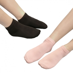 Cotton Black & Peach Imitation Pearl Socks - 2 Pairs
