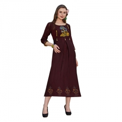Littledesire Round Neck Embroidered Straight Kurta