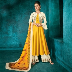Embroidered Kurta With Palazzos & Jacket Without Dupatta