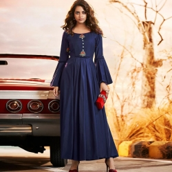 Littledesire Embroidered Work Round Neck  Bell Sleeve Gown