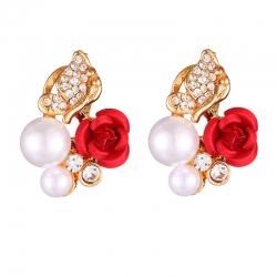 Littledesire Red Rose Imitation Pearl Rhinestone Stud Earrings