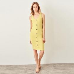 Littledesire V-Neck Sleeveless Front Button Bodycon Dress