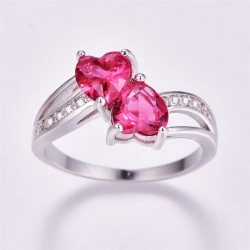 Littledesire Classic Pink Two Hearts CZ Silver Ring