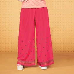 Littledesire Embroidered Work Straight Pink Palazzo
