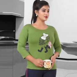 Littledesire Cute Cartoon Print Cotton Women Green T-Shirt