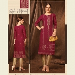 Littledesire Round Neck Foil Print Kurta With Pant