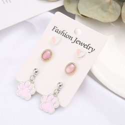 Heart Footprint Moon Star Cute Earrings 3 pcs Set