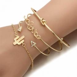 Trendy Gold Plated Knot Cactus Letter Charm Bracelet 4 Pcs
