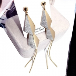 Latest Design Geometric Silver & Golden Long Earrings