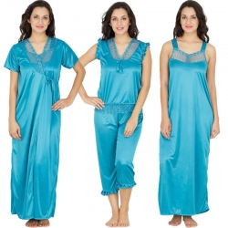 Lace 4 pcs Blue Nightwear With Robe Set Sating Nighty
