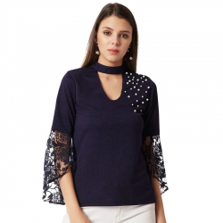Bell Sleeve With Net Frill and Pearl Studded High Quality Top