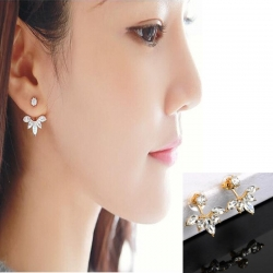 Crystal Ear Cuff Clip Leaf Stud Earrings