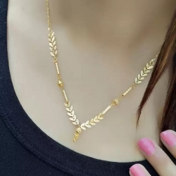 Stylish Leaf Design Fashionable Golden Plated Mangalsutra