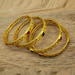 Golden Plated Stone Bangles Set 4pcs