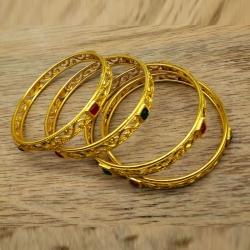 Golden Plated Stone Bangles Set 4pcs