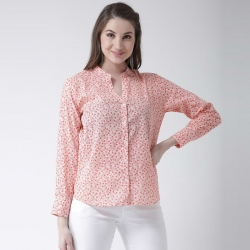 Printed Mandarin Collar Women Shirt Top