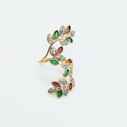 Golden Plated Color-full Stone Zircon Leaf Finger Ring