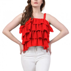 Littledesire Sleeveless Ruffle Crop Top