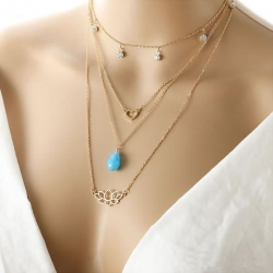 Multi layer Gold Plated Love Charm Choker Necklace