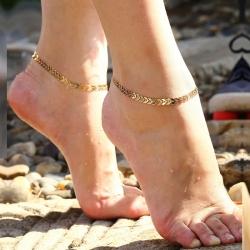 Leaf Design Fashionable Golden Plated Chain Anklets