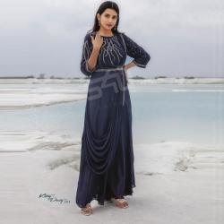 Designer Embroidered Stone Partywear Georgette Gown