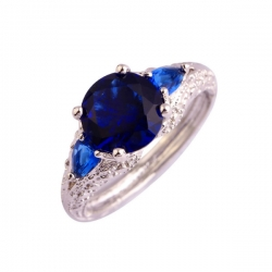 Fashion Oval Cut Blue CZ Silver Ring