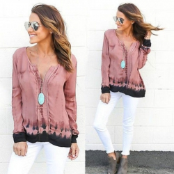 V-neck Loose Printing Long Sleeve Top