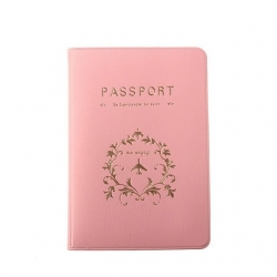 Pink PU Leather Passport or ID Card Cover Holder (Be Eco Traveler for Earth)
