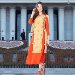 Daffodil Orange Shoulder Cut Georgette Embroidered Kurti