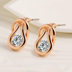 Crystal Gold Finish Earrings